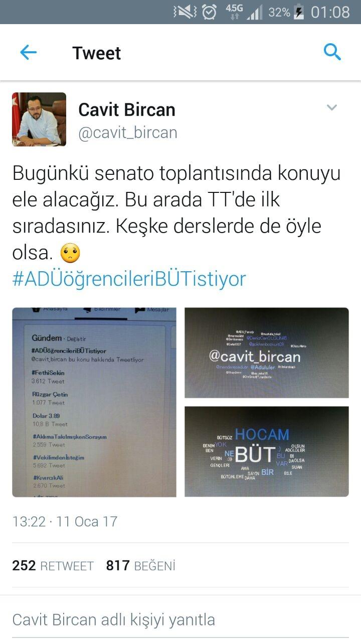 Rektör Prof. Dr. Cavit Bircan Twitter'ı Salladı. 1