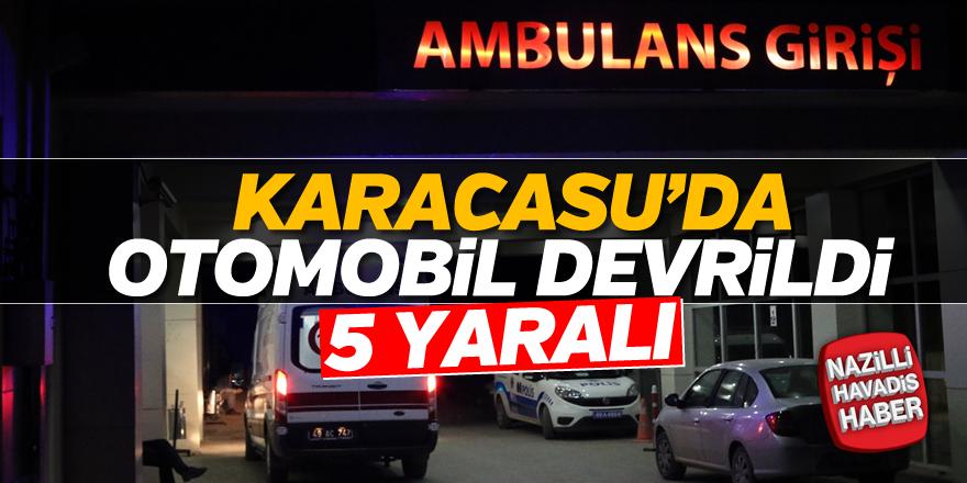 Karacasu'da otomobil devrildi; 5 yaralı