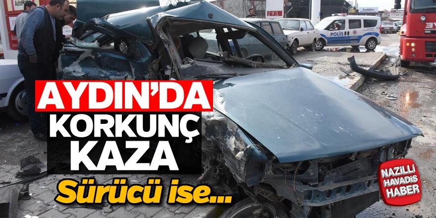 Aydın'da kaza yapan otomobil hurdaya döndü