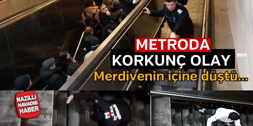 Metroda korkutan kaza
