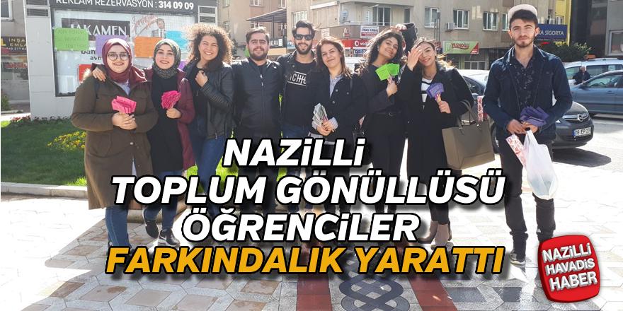 Nazilli'de üniversite öğrencileri Kadınlar Günü için farkındalık yarattı