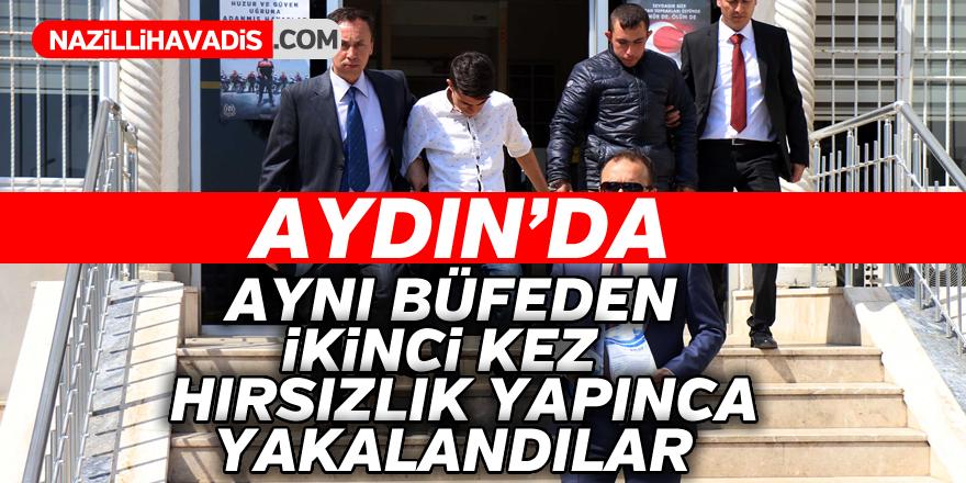 Aydın'da aynı büfeden ikinci kez hırsızlık yapınca yakalandılar