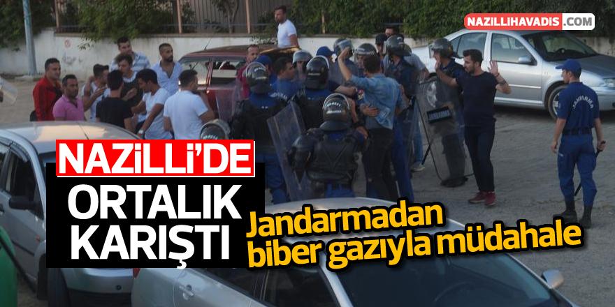 Nazilli'de jandarmadan biber gazıyla müdahale