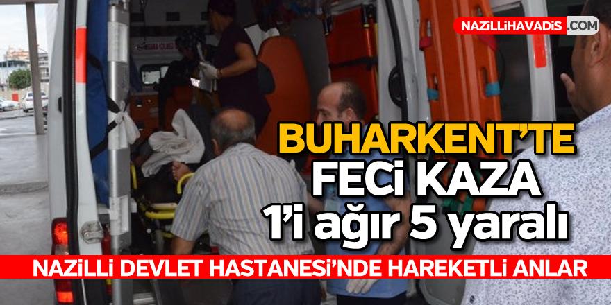 Buharkent'te kamyonet ile otomobil çarpıştı; 1'i ağır 5 yaralı