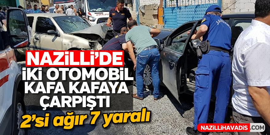 Nazilli'de iki otomobil kafa kafaya çarpıştı; 2'si ağır 7 yaralı