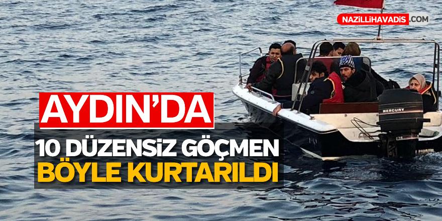 Bozulan teknedeki 10 düzensiz göçmen kurtarıldı