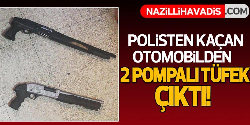Aydın'da polisten kaçan otomobilde 2 pompalı tüfek ele geçirildi!