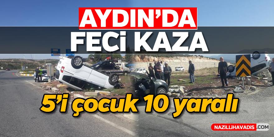 Aydın'da kamyonet ile otomobil çarpıştı: 10 yaralı