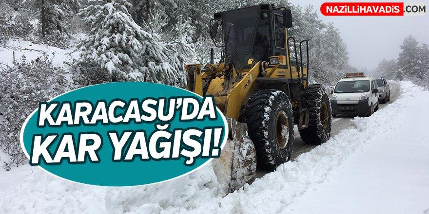 Karacasu'da kar yağışı