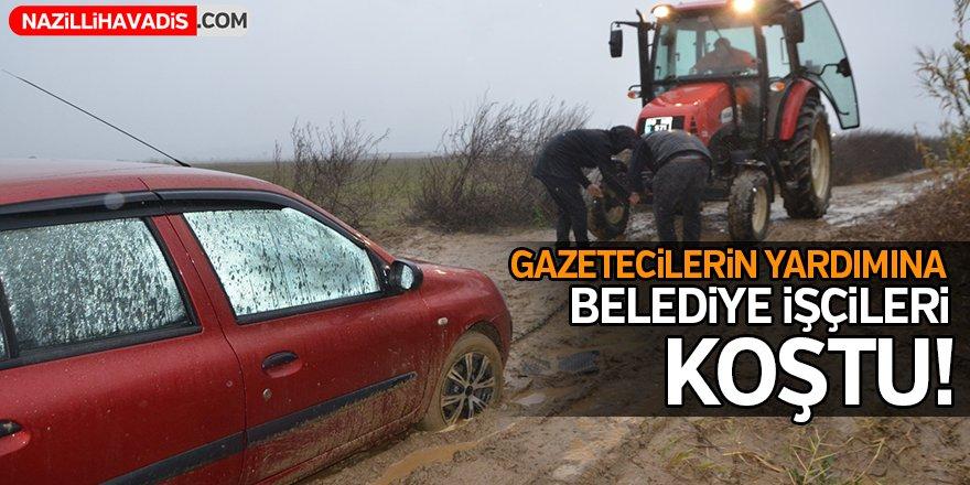 Gazetecilerin yardımına belediye işçileri koştu!
