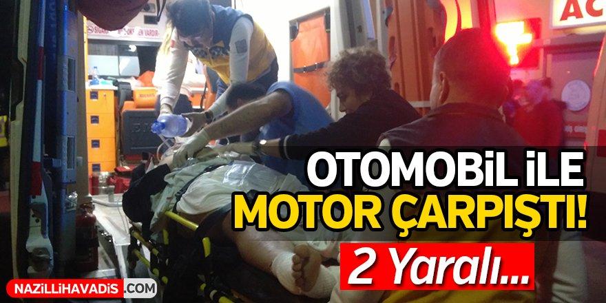 Otomobille motosiklet çarpıştı!