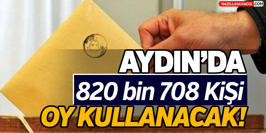 Aydın'da 820 bin 708 kişi oy kullanacak!
