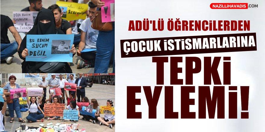 ADÜ'lü öğrencilerden çocuk istismarlarına tepki eylemi!
