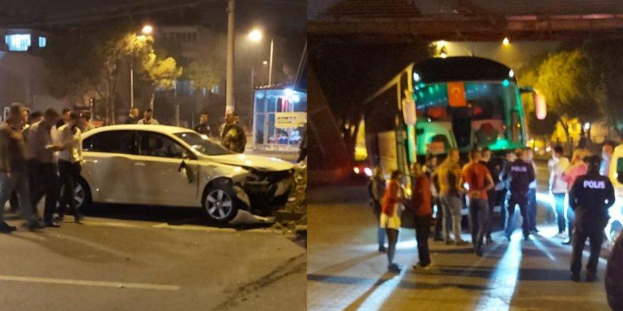 Nazilli'de otobüs ile otomobil çarpıştı