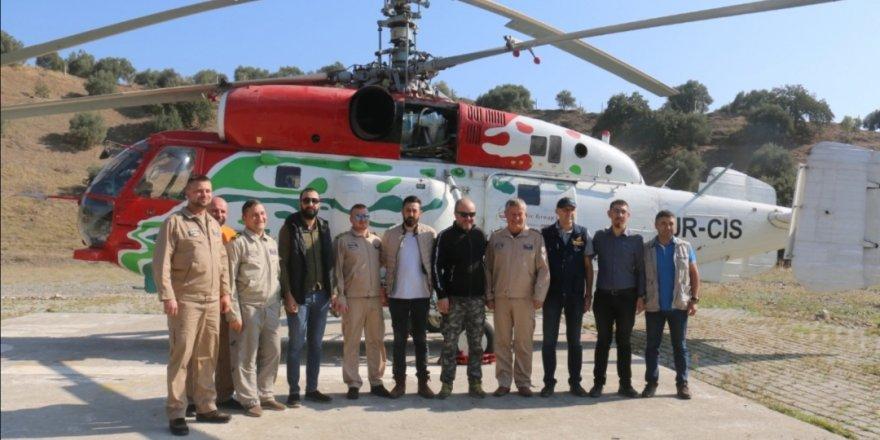 Orman çalışmaları helikopterli keşifle görüntülendi