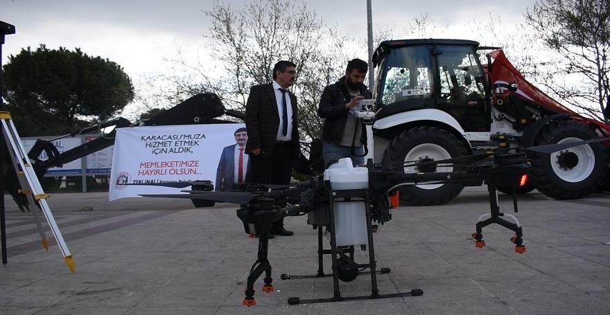 KARACASU KENDİNİ AŞTI...DRONE İLE  İLÇE DEZENFEKTE EDİLİYOR