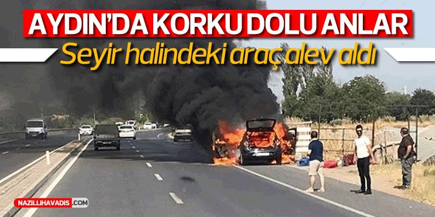 Aydın'da alev alan araba kül oldu