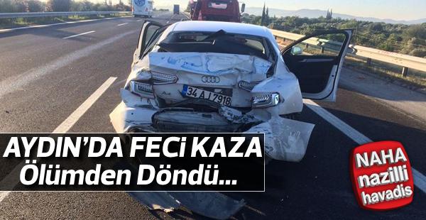 Aydın'da TIR otomobile çarptı