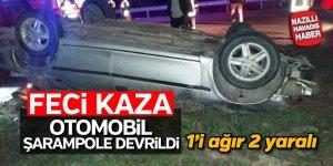 Otomobil şarampole devrildi; 2 yaralı