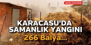 Karacasu'da samanlık yangını