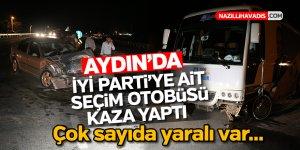 Aydın'da İYİ Parti'ye ait seçim otobüsü kaza yaptı
