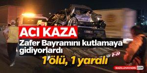 Tır otomobile çarptı: 1 ölü, 1 yaralı