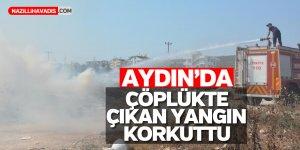 Aydın'da çöplükte çıkan yangın makilik alana sıçradı