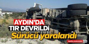 Aydın'da maden yüklü tır devrildi
