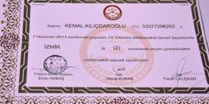 Kemal Kılıçdaroğlu'nun Mazbatası Alındı