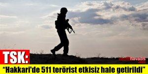 """TSK: """"Hakkari'de 511 terörist etkisiz hale getirildi"""""""