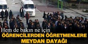 Lisede bayrak töreninde öğrenciler öğretmenlere saldırdı