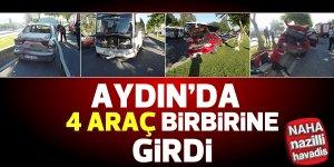 Aydın'da 4 araç birbirine girdi
