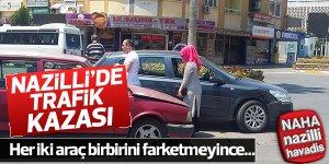 Nazilli Belediye meydanında korkutan kaza