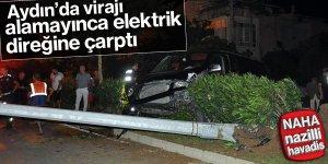 Aydın'da virajı alamayan sürücü kaza yaptı