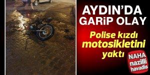 Polise kızan motosiklet sürücüsü aracını yaktı