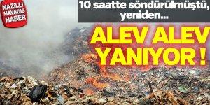 Katı atık depolama alanında yangın çıktı