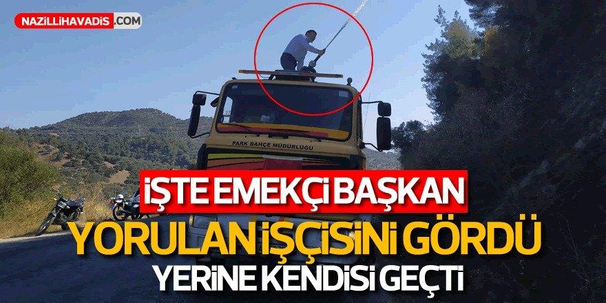 Başkan Özcan su tankerinin üzerine çıktı, yangın söndürdü