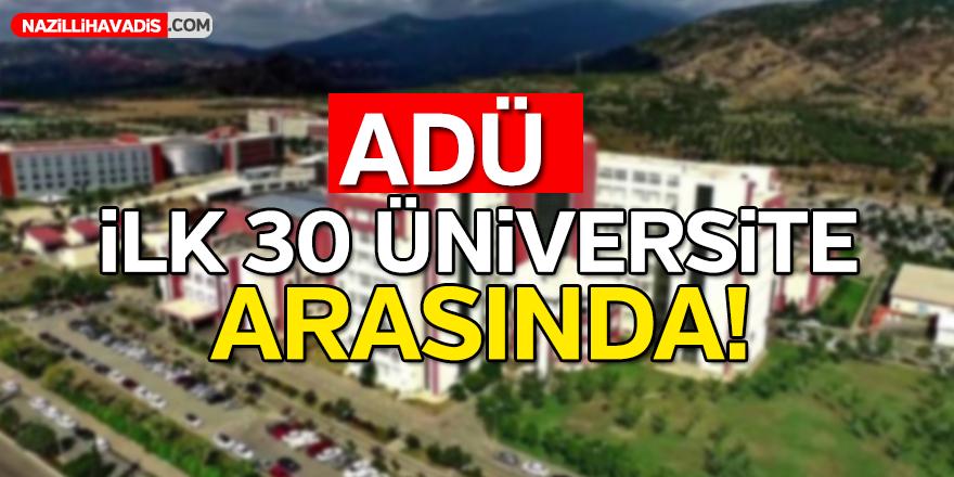 ADÜ ilk 30 üniversite arasında