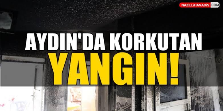 AYDIN'DA 3 DAKİKADA EV ALEV ALDİ