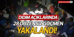 Didim açıklarında 28 düzensiz göçmen kurtarıldı