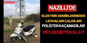 Nazilli'de elektrik direklerindeki  levhaları çalan 2 şüpheli yakalandı