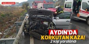 Aydın'da bariyerlere çarpan otomobildeki 2 kişi yaralandı
